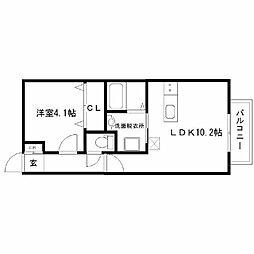 仮)若林6丁目新築アパート 2階1LDKの間取り