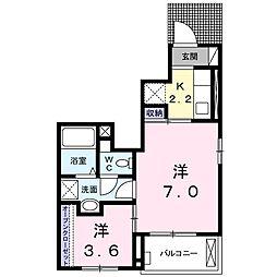 名鉄名古屋本線 東岡崎駅 徒歩20分の賃貸アパート 1階1SKの間取り