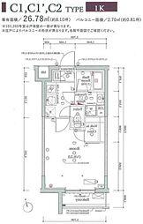 JR山手線 大崎駅 徒歩11分の賃貸マンション 2階1Kの間取り