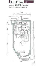 JR山手線 大崎駅 徒歩11分の賃貸マンション 3階1Kの間取り