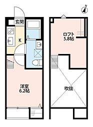JR高崎線 宮原駅 徒歩13分の賃貸アパート 2階1Kの間取り