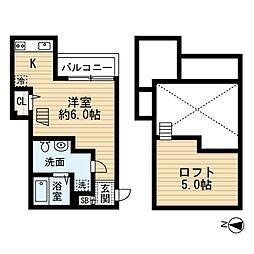 JR阪和線 鳳駅 徒歩5分の賃貸アパート 1階ワンルームの間取り