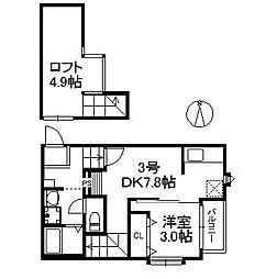 福岡市地下鉄空港線 室見駅 徒歩10分の賃貸アパート 2階1DKの間取り