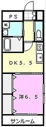 メゾン・ジュネス 7 4階1DKの間取り