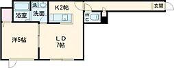 ヴァンベール 1階1DKの間取り