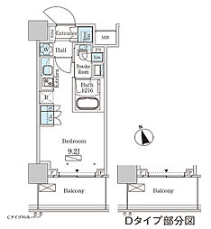 パークアクシス大塚ステーションゲートタワー 16階ワンルームの間取り
