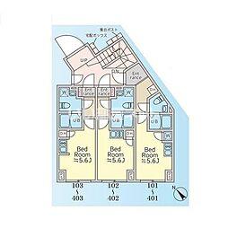 JR山手線 恵比寿駅 徒歩12分の賃貸マンション 地下2階ワンルームの間取り