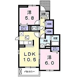 ジラソーレ・カリーノ II 1階2LDKの間取り