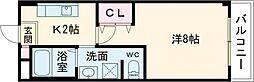 かぐや姫タワービル 3階1Kの間取り