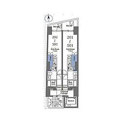 京王線 笹塚駅 徒歩6分の賃貸マンション 5階ワンルームの間取り