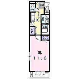 エストレーヤ東加古川 3階1Kの間取り