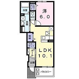 ハーモニーガーデン 2階1LDKの間取り
