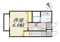 シンティラーレ小松島 1階1Kの間取り