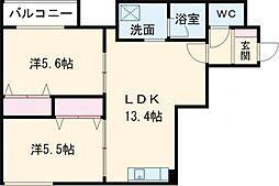 デイトナ 1階2LDKの間取り