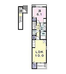 新栄アパートB 2階1LDKの間取り
