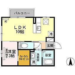 JR信越本線 長岡駅 徒歩20分の賃貸アパート 1階1LDKの間取り