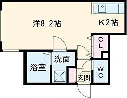 ラグドール 1階1DKの間取り