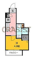 福岡市地下鉄七隈線 薬院大通駅 徒歩12分の賃貸マンション 2階1Kの間取り