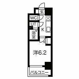 JR東西線 加島駅 徒歩7分の賃貸マンション 6階1Kの間取り
