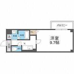 近鉄南大阪線 河堀口駅 徒歩8分の賃貸マンション 8階1Kの間取り