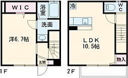 メゾネットパーク奥栄 西棟 1階1LDKの間取り