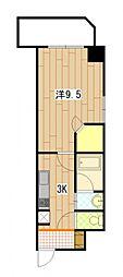 ウィング宝町フォース 2階1Kの間取り