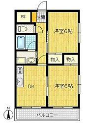 Osaka Metro中央線 高井田駅 徒歩5分の賃貸マンション 5階2DKの間取り