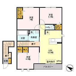 JR京浜東北・根岸線 さいたま新都心駅 バス7分 東下木崎下車 徒歩2分の賃貸アパート 2階3LDKの間取り