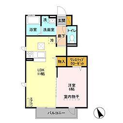 JR京浜東北・根岸線 与野駅 徒歩12分の賃貸アパート 1階1LDKの間取り