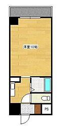 ヴィラ・アンペリアル 4階1Kの間取り