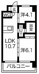 FDS Plaisir 4階2LDKの間取り