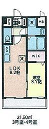 シェル新川 6階1LDKの間取り