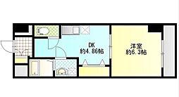 JR豊肥本線 滝尾駅 徒歩12分の賃貸マンション 2階1DKの間取り