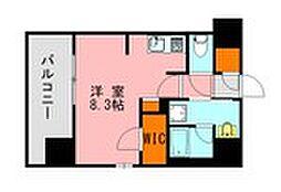 西鉄天神大牟田線 高宮駅 徒歩20分の賃貸マンション 13階ワンルームの間取り
