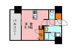 西鉄天神大牟田線 高宮駅 徒歩20分の賃貸マンション 9階ワンルームの間取り