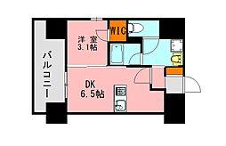 西鉄天神大牟田線 高宮駅 徒歩20分の賃貸マンション 13階1DKの間取り