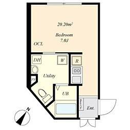 京王線 幡ヶ谷駅 徒歩4分の賃貸マンション 2階ワンルームの間取り