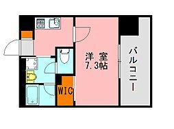 西鉄天神大牟田線 高宮駅 徒歩20分の賃貸マンション 13階1Kの間取り