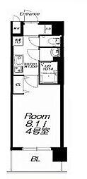 近鉄大阪線 今里駅 徒歩9分の賃貸マンション 8階1Kの間取り