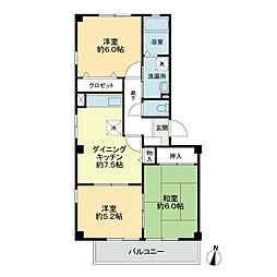 JR徳島線 阿波加茂駅 徒歩16分の賃貸アパート 2階3DKの間取り