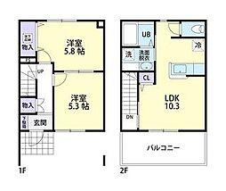Sakura palace(サクラパレス)B 1階2LDKの間取り