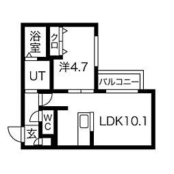 札幌市電2系統 中島公園通駅 徒歩6分の賃貸マンション 2階1LDKの間取り