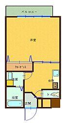 森塚第15マンション 4階1Kの間取り