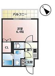 福岡市地下鉄箱崎線 千代県庁口駅 徒歩2分の賃貸マンション 12階1Kの間取り