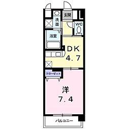 ドエルVI 3階1DKの間取り
