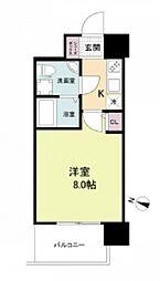 阪神本線 春日野道駅 徒歩6分の賃貸マンション 2階1Kの間取り
