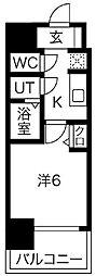 プレサンス南堀江 5階1Kの間取り