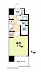 阪神本線 春日野道駅 徒歩6分の賃貸マンション 6階1Kの間取り
