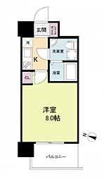 阪神本線 春日野道駅 徒歩6分の賃貸マンション 10階1Kの間取り