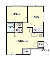 青い森鉄道 筒井駅 徒歩28分の賃貸アパート 2階2LDKの間取り